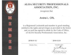 Certificate ALOA CRL.