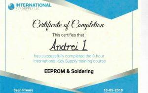 Certificate IKS EEPROM.