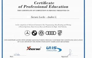 Certificate UHS XHORSE.